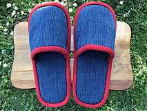 Obuv - Modré riflové papuče s červeným lemom - 11955592_