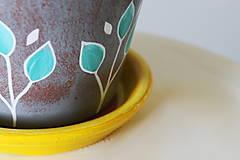 Nádoby - Terakotový kvetináč - Žlto-sivý - 11956935_