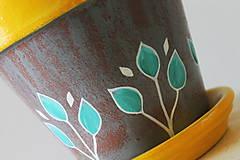 Nádoby - Terakotový kvetináč - Žlto-sivý - 11956936_