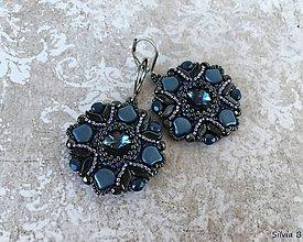 Náušnice - Luxusné modro-hematitové Swarovski náušnice - 11958079_