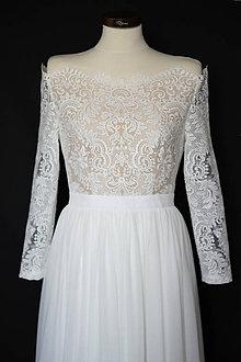 Šaty - Svadobné šaty z bavlnenej krajky s holými ramenami SKLADOM - 11954484_