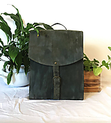 Batohy - Kožený batoh - zelený farbený - 11955399_
