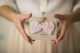 Náušnice - Macramé Náušnice - Baby pink - 11955073_