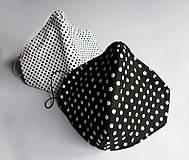 Ochranné rúško 3-vrstvové - Čiernobiely bodkovaný set