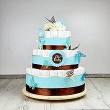 Detské doplnky - Plienková torta motýľkovo modrá - 11957399_