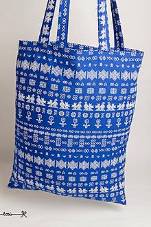 Nákupné tašky - Niečo ako EKOtaška - Čičmany modré (menší vzor) - 11955444_