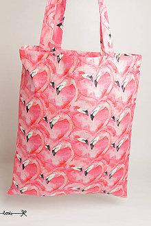 Nákupné tašky - Niečo ako EkOtaška - plameniaky - 11955456_