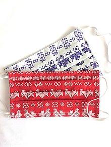 Rúška - Dvojvrstvové bavlnené rúško - Čičmany (rôzne farby) - 11955645_