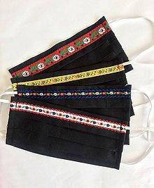 Rúška - Jednovrstvové bavlnené rúško - folklórne čierne - 11955792_