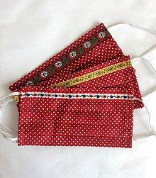 Rúška - Jednovrstvové bavlnené rúško - folklórne červené - 11955807_