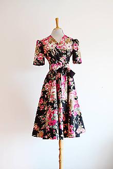 Šaty - Zavinovacie bavlnené šaty s opaskom - 11958130_