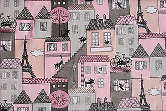 Textil - metráž mačky (Ružová) - 11954944_