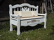 Nábytok - Lavička s úložným priestorom Limbak biely (labute) - 11961430_