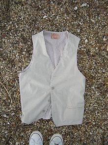 Iné oblečenie - Vesta , farba piesku-pánska - 11958832_