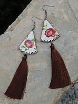 """Náušnice - Náušnice """"Ružičky s hnedými strapcami"""" - 11962116_"""