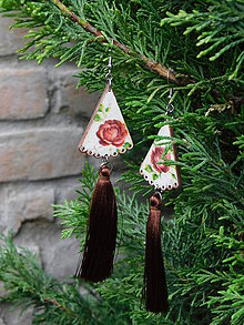 """Náušnice - Náušnice """"Ružičky s hnedými strapcami"""" - 11962115_"""