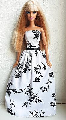 Hračky - Čiernobiele kvetinové šaty pre Barbie - 11960085_