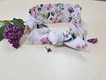 Šatky - Elegantná šatka z bavlneného saténu - biela záhrada - 11961024_