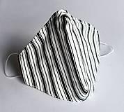 Ochranné rúško 3-vrstvové - čiernobiele pruhované