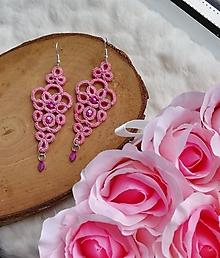 Náušnice - Čipkové náušnice ružové - 11962493_