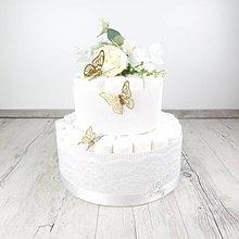 Detské doplnky - Plienková torta motýľkovo biela+zlatá - 11960478_