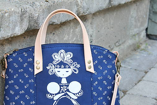modrotlačová kabelka Nora natur 9