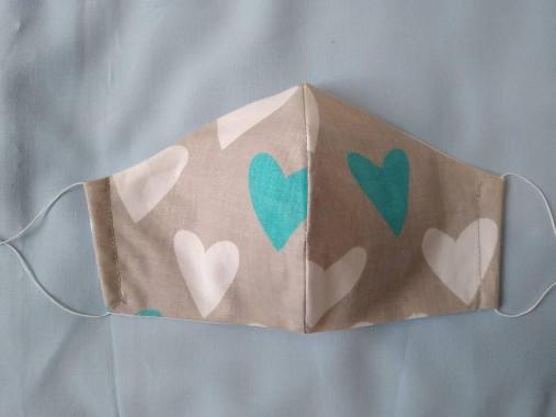 Dizajnové rúško srdce šedé/tyrkys tvarované dvojvrstvové