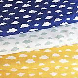 Textil - žlto-biele obláčiky, 100 % bavlna Poľsko, šírka 160 cm - 11963895_