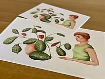 Grafika - Dievča s marantou - Print | Botanická ilustrácia - 11962847_