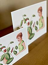 Grafika - Dievča s marantou - Print | Botanická ilustrácia - 11962848_