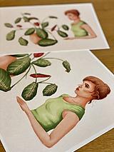 Grafika - Dievča s marantou - Print | Botanická ilustrácia - 11962849_