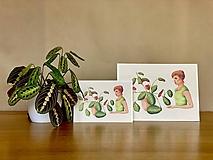Grafika - Dievča s marantou - Print | Botanická ilustrácia - 11962850_