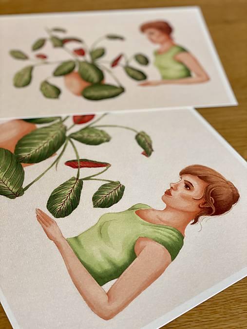 Dievča s marantou - Print | Botanická ilustrácia