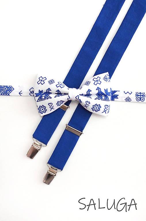 Pánsky motýlik a traky - ČIČMANY - kráľovsky modrý (set bez vreckovky)