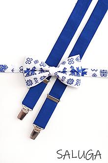 Doplnky - Pánsky motýlik a traky - ČIČMANY - kráľovsky modrý (set bez vreckovky) - 11965378_