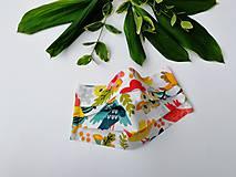 Rúška - Dámske / dievčenské 1-vrstvové RÚŠKO s drôtikom - nové vzory (vtáčiky a kvety) - 11965977_