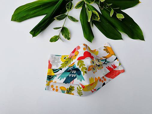 Dámske / dievčenské 1-vrstvové RÚŠKO s drôtikom - nové vzory (vtáčiky a kvety)