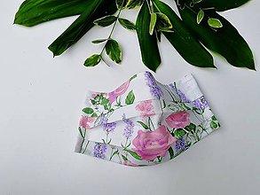 Rúška - Dámske / dievčenské 1-vrstvové RÚŠKO s drôtikom - nové vzory (ruža & levanduľa) - 11965969_
