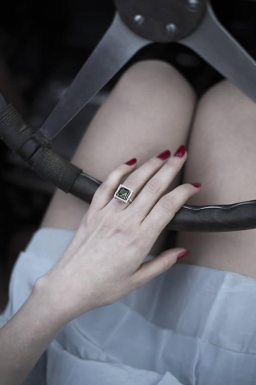 Prstene - Vetvičkový s vltavínom aneb Art deco v Bugatti - 11964095_