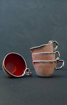 Nádoby - šálka s ružou červeno lososová - 11964311_