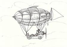 Kresby - Air balloon IV, perokresba na papieri alebo plátne - 11962824_