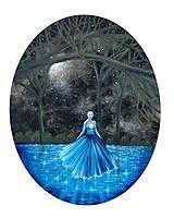 Obrazy - Raz v noci v lese - oválny obraz - olejomaľba - 11969678_
