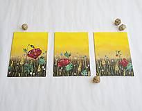 Obrazy - Séria troch obrázkov Lúčne kvety - 11970229_