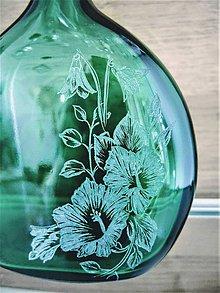 Nádoby - Gravírovaná fľaša kvety - 11974572_