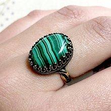 Prstene - ZĽAVA 35% Bronze Filigree Malachite Ring / Filigránový prsteň s malachitom - 11972592_