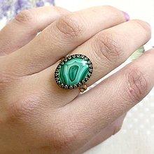 Prstene - Bronze Filigree Malachite Ring / Filigránový prsteň s malachitom - 11973861_