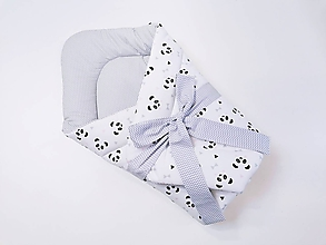 Textil - Zavinovačka sivo-biela s pandami s ružovými líčkami - 11972889_
