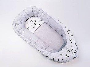 Textil - Hniezdo pre bábätko bielo-sivé s pandami s ružovými líčkami - 11972890_