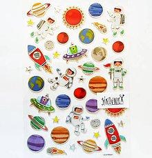 Papier - Samolepky, vesmír, raketa, planéta, astronaut - 11972952_