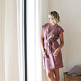 Šaty - . wrap dress . len extra jemný . mauve - 11973196_